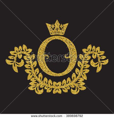Golden Glittering Letter O Monogram In Vintage Style Heraldic