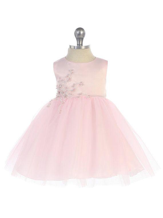 308ef673d Vestido del desfile infantil en tul floral rosa