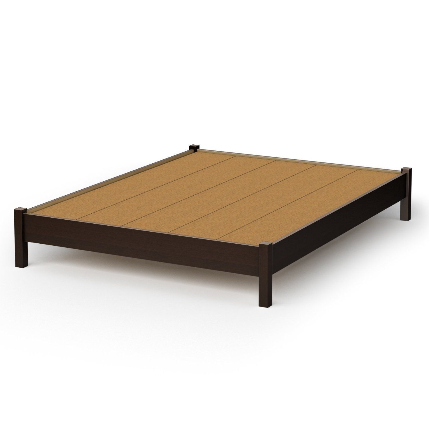 Queen Size Modern Platform Bed Frame In Chocolate Finish Products