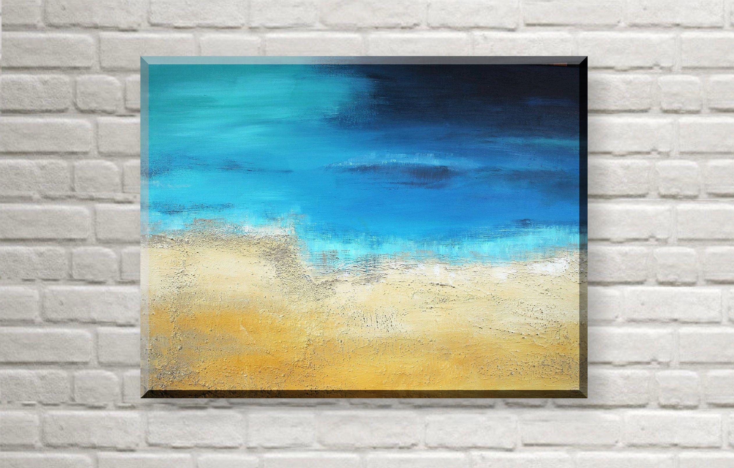 Original Acrylbild Strand abstrakt, Acryl Gemälde Strand große ...