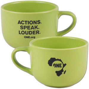Actions. Speak. Louder. Mug    Was $12  Now $10    http://one.shop.musictoday.com/Product.aspx?cp=14483_57850=1OAM30