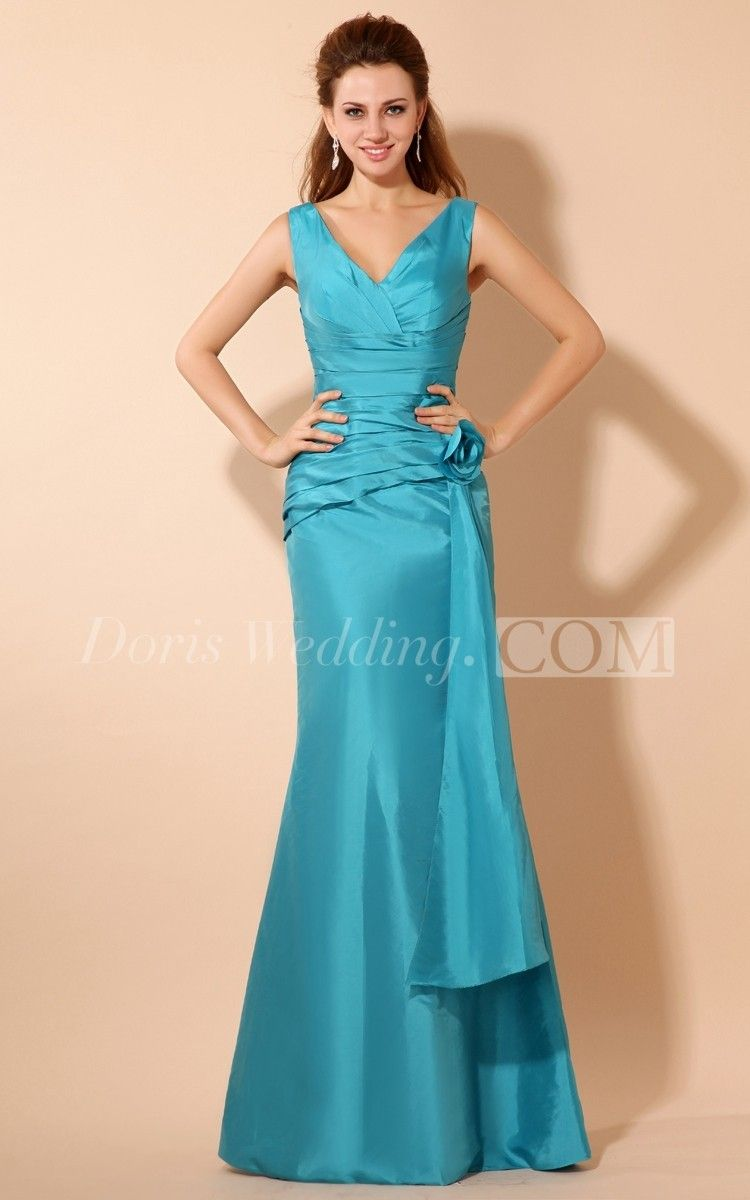 V-Neck Strapless Taffeta Long Mother of the Groom Dress With Ruching ...