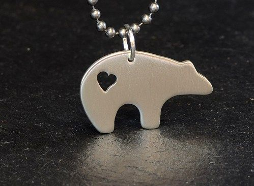 Sterling silver spirit bear necklace with majestic heart sterling silver spirit bear necklace with majestic heart aloadofball Images
