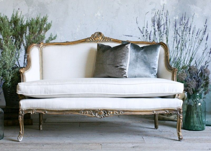 Vintage 1940 S Louis Xv French Style Shabby Gilt Settee Sofa Frenchgardenhouse