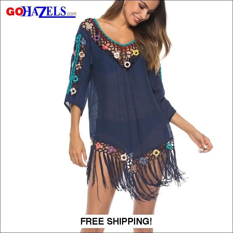 8c84ff211ad63 ... Women Cheap Best - NewChic. Advertisement; Sexy Tassel Crochet Swimwear  Beach Cover Up Dress | GoHazels.com