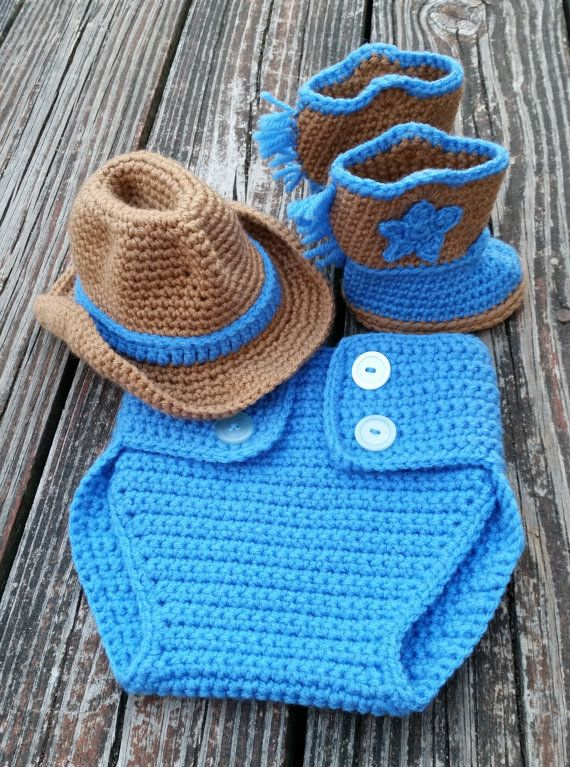 Ready to ship, crochet baby cowboy set booties, cowboy hat, and ...