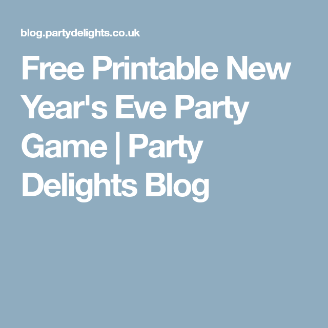 Free Printable New Year's Eve Party Game | New years eve ...