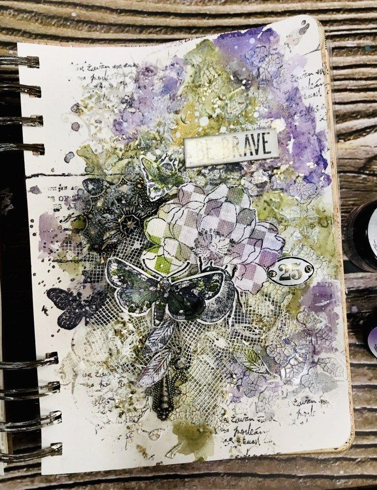 Mixed Media Art Journal Page with Anat #artjournalmixedmediainspiration