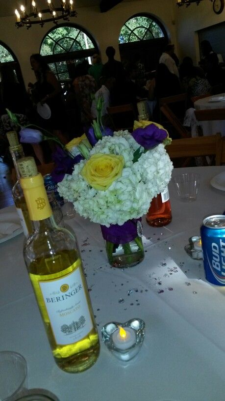 Diy: yellow and purple centerpieces