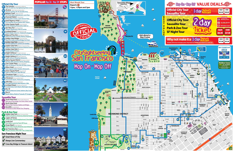 San Francisco Tour Map City Sightseing San Francisco Tours