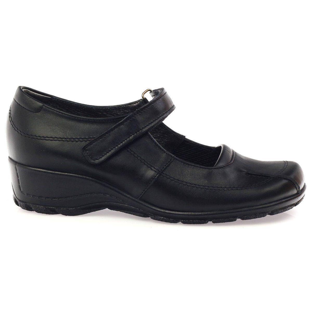 Angello Komfortowe Czolenka Na Koturnie Czarne 371 Black Pumps Shoes Women Shoes