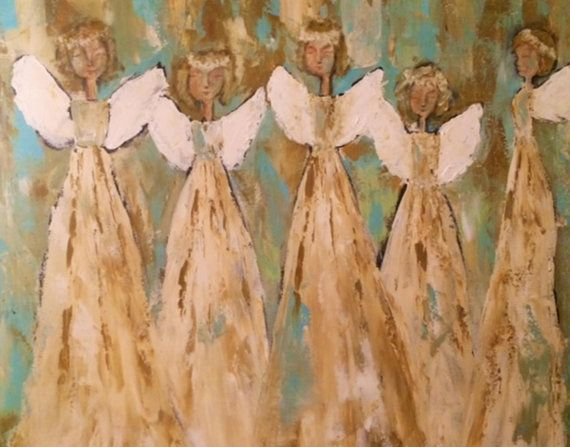 Angel notecards original print notecards, hand made hand designed mixed media art acyrlic painting    1000.2a    Group of angels,  painted with