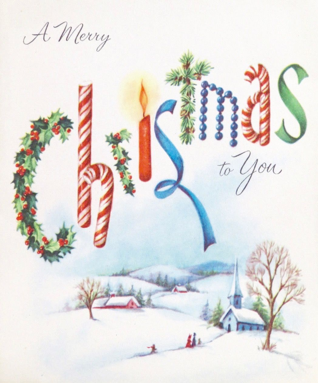 Vintage Candy Cane. Retro Christmas Card. A Merry Christmas to You.