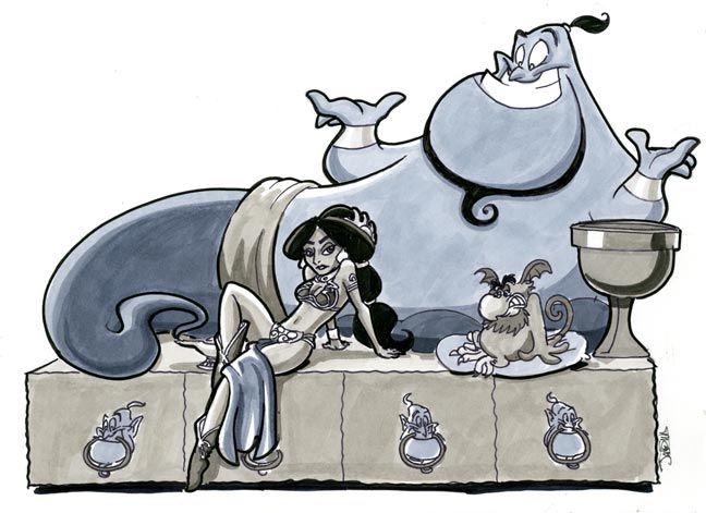 haha  Jabba and Leia, Aladdin-style by James Silvani