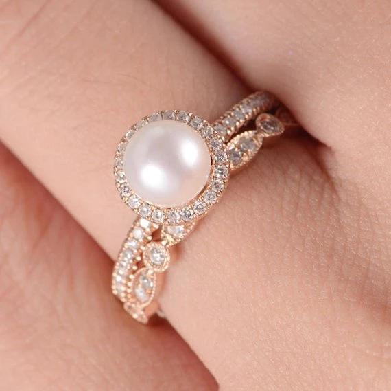 18K Akoya Pearl Engagement Ring Rose Gold Art Deco Wedding