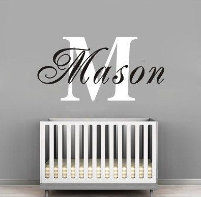 Personalized Boys Name Monogram Wall Decal Nursery Kids Decals Baby Boy