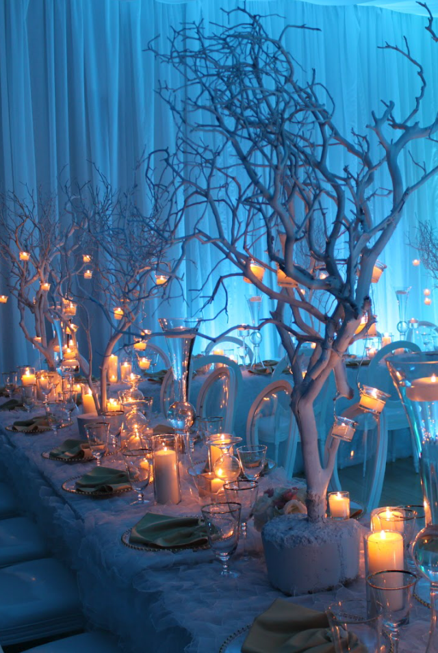Winter wonderland wedding candles christmas wedding for Winter themed wedding centerpieces