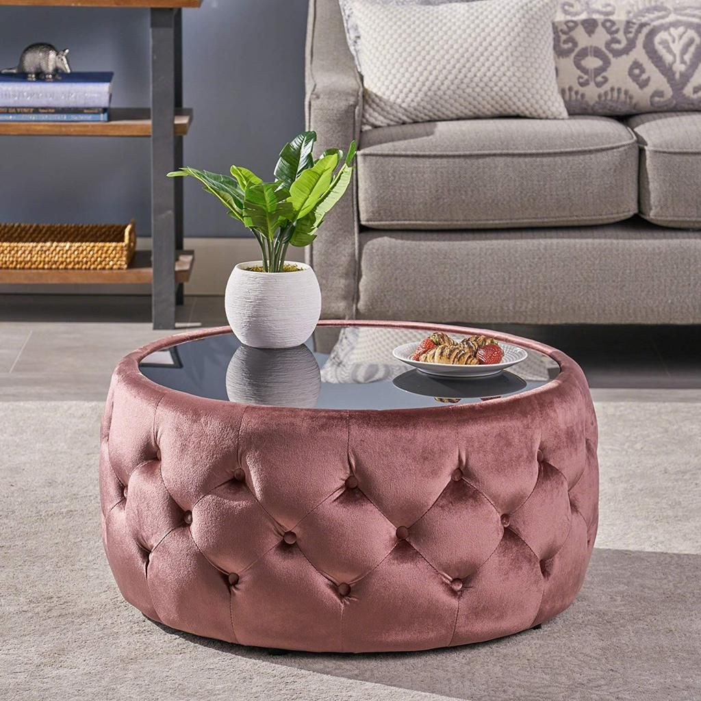 Eva Glam Velvet And Tempered Glass Coffee Table Ottoman Blush Ottoman Table Coffee Table Ottoman Coffee Table [ 1024 x 1024 Pixel ]