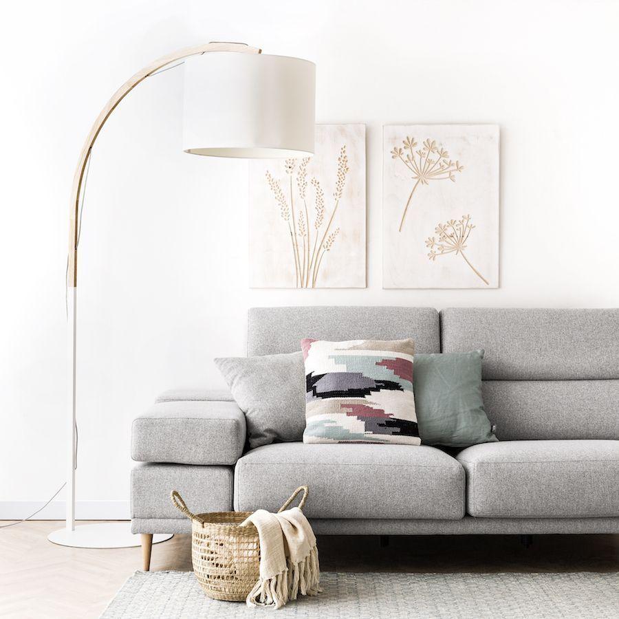 de pie en madera pantalla de y cuerpo Modal lámpara blanca eDIYEHW29