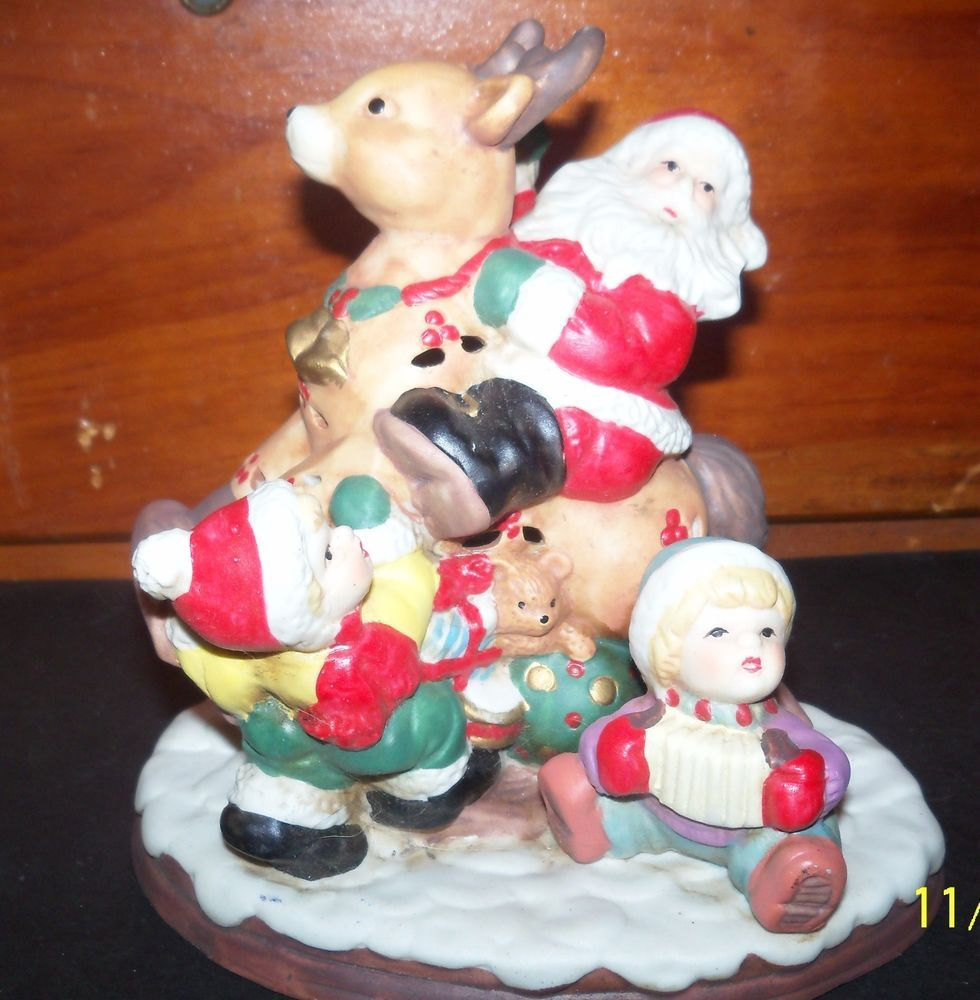 christmas santa claus reindeer tealight candle holder bisque ceramic figurine