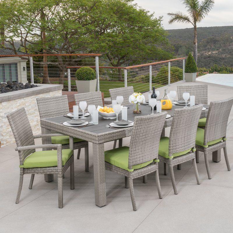 Castelli 9 Piece Sunbrella Dining Set With Cushions Backyard