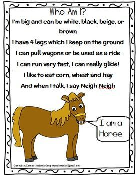 FARM ANIMALS Riddles POEMS FREEBIE Great for Language activities