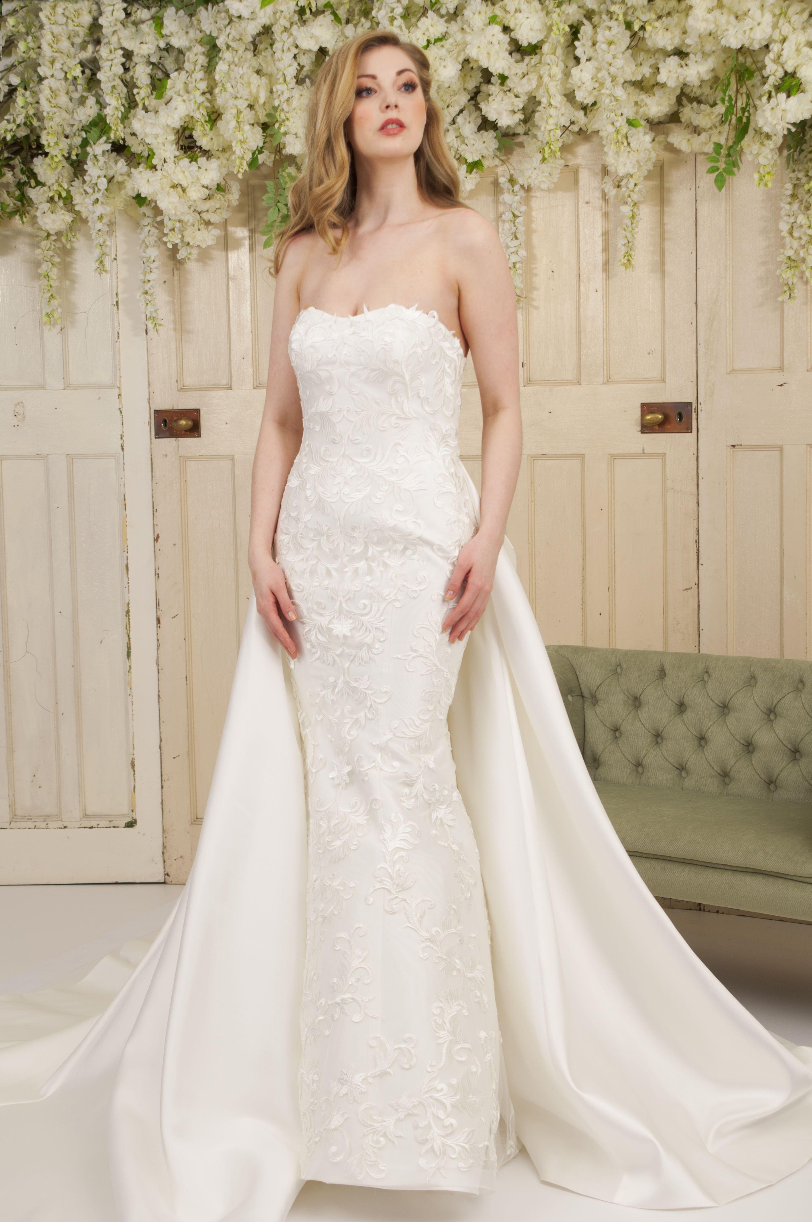 """Carolina"" Column wedding dress, Plain wedding dress"
