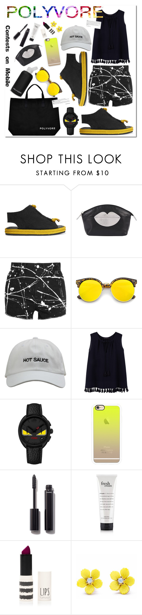 """#ContestOnTheGo #ContestEntry"" by stacey-lynne ❤ liked on Polyvore featuring bkr, Acne Studios, ILI, Yves Saint Laurent, Revo, Violeta by Mango, Fendi, Casetify, Chanel and Topshop"