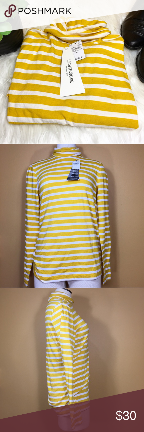 "NWT Yellow & White Striped Turtleneck Feeling a little gloomy? Have the winter blahs got you down? Slip into a little bit of sunshine with this NWT yellow and white striped turtleneck from Lands' End! Pair with a long denim skirt for total 70's vibes!   Brand: Lands' End. Size small. Condition: New with tags. One small spot on shirt with sticky residue from sticker. Material: 56% Cotton, 38% rayon and 6% spandex.  Measurements (flat): Armpit to armpit: 18"" Waist: 16"" Bottom hem: 19"" Length…"