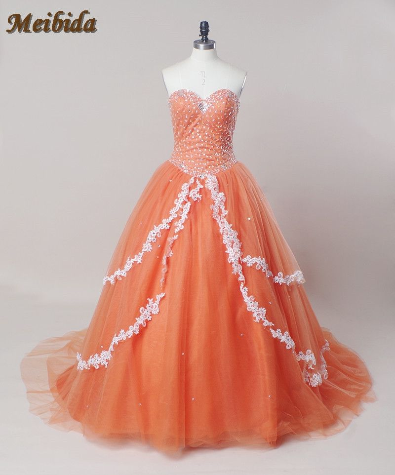 Puffy Princess Orange Applique Debutante Gown Quinceanera Dresses 2017  Cheap Quinceanera Gowns Sweet 16 Dresses For 0d6c28df8830