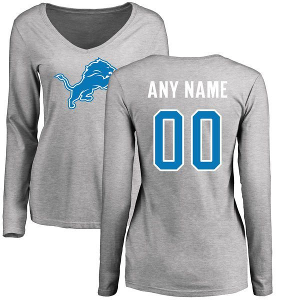... new arrivals women detroit lions pro line ash custom name and number  logo slim fit long 715ad6b47