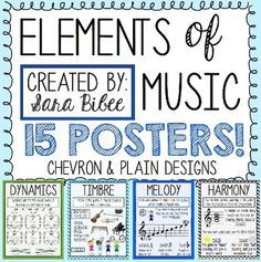 Elements of Music- Anchor Charts- Printable Posters | Music anchor ...