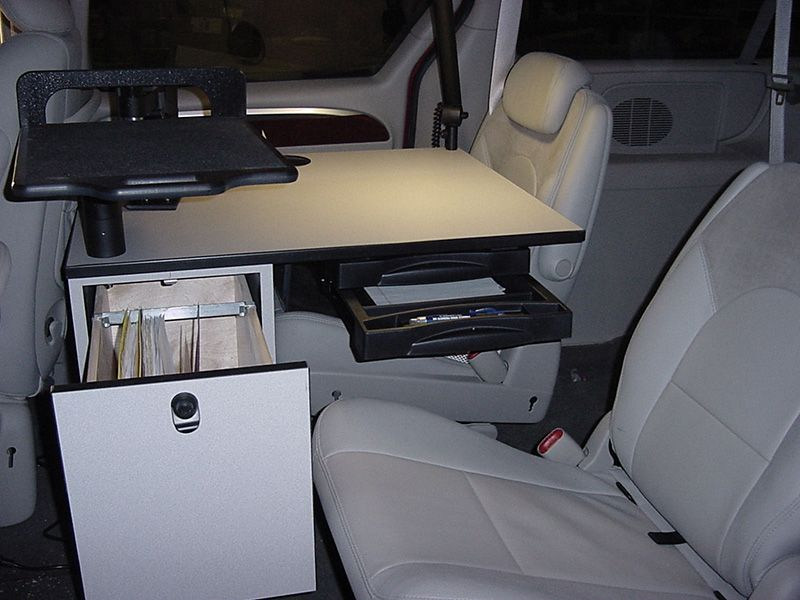Dodge Caravan Euqipped With An Ergonomic Solutions Cargo Mobile Office Desk Customized Extra Storage