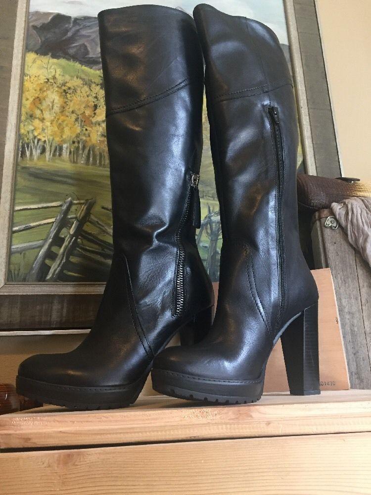 Black leather boots italian