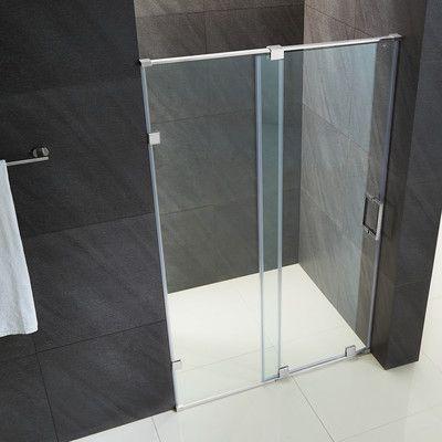 Ryland 48 W X 72 75 H Single Sliding Frameless Shower Doorwith Rollerdisk Technology Frameless Shower Doors Shower Doors Frameless Shower