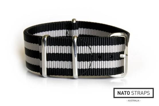 NATO Regimental Strap Black and Silver - James Bond 18mm