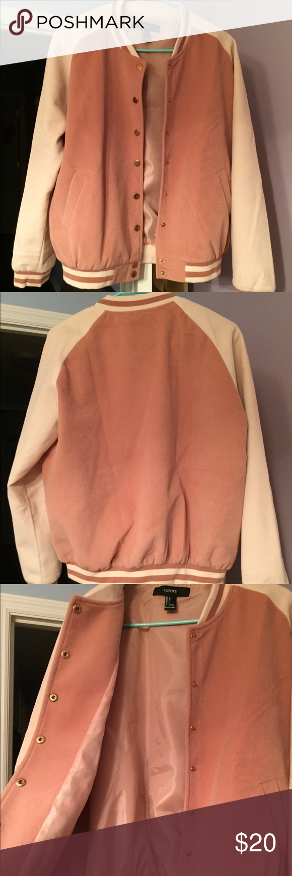 Faux Suede Rose Gold Forever 21 Varsity Jacket Gorgeous trendy bomber/varsity jacket, only worn once. Very rose gold vibes! Coloring: millennial pink sleeves and mauve-y pink for the body of the jacket, gold snap buttons. Forever 21 Jackets & Coats #varsityjacketoutfit