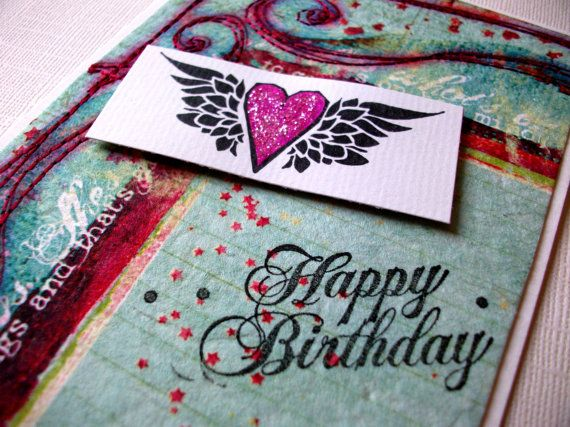 Drachen Falten Origami Rockabilly Birthday Card Happy Birthday Hand By