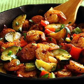 20-Minute Shrimp Sausage Skillet Paleo Meal Recipe. I'd skip the shrimp due to allergies but definitely keep sausage ... perhaps add chicken? or a red meat?