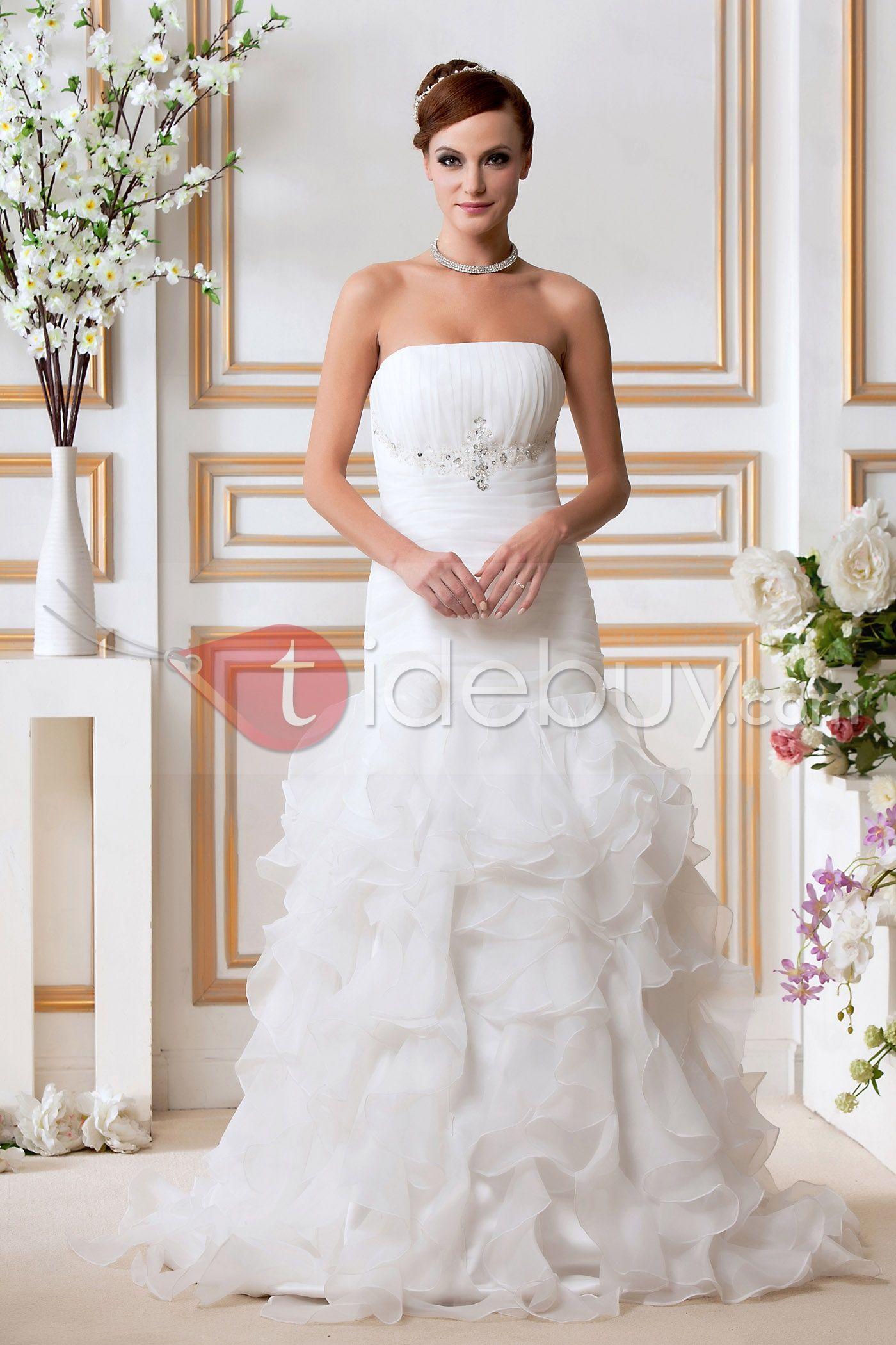 マーメイドストラップレスチャペルひだ飾りウエディングドレス Wedding dresses, Wedding