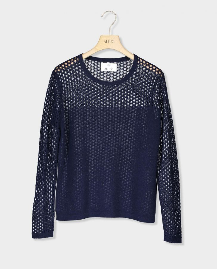 AJOUR KNIT SWEATER – DARK BLUE