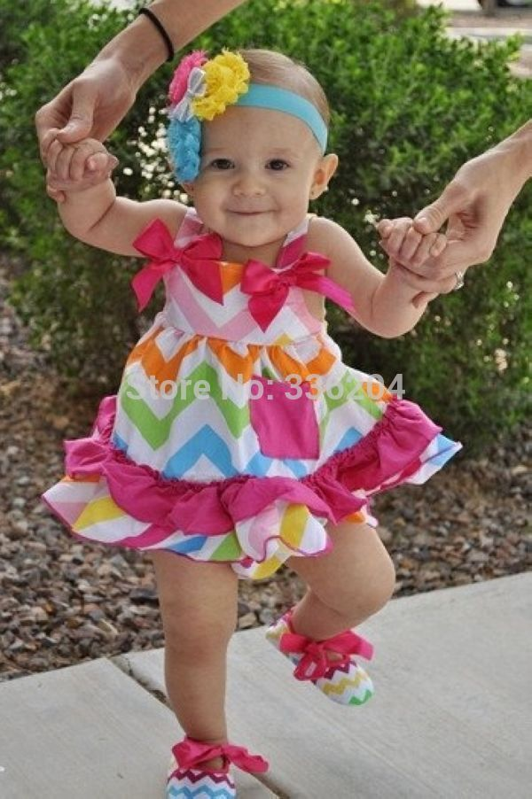 e3d609030bff Aliexpress.com : Buy Neon Rainbow Chevron Swing Dress and Bloomers,Pink and  Gray