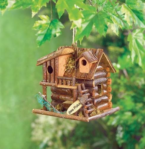 wooden yard decorations | Gone Fishin' Wood Birdhouse Outdoor Yard Garden Decor New http://www ...