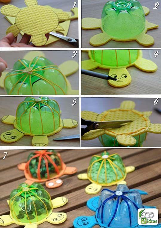 Tortugas hechas con botellas de pl stico ecoideas - Botellas de plastico manualidades ...
