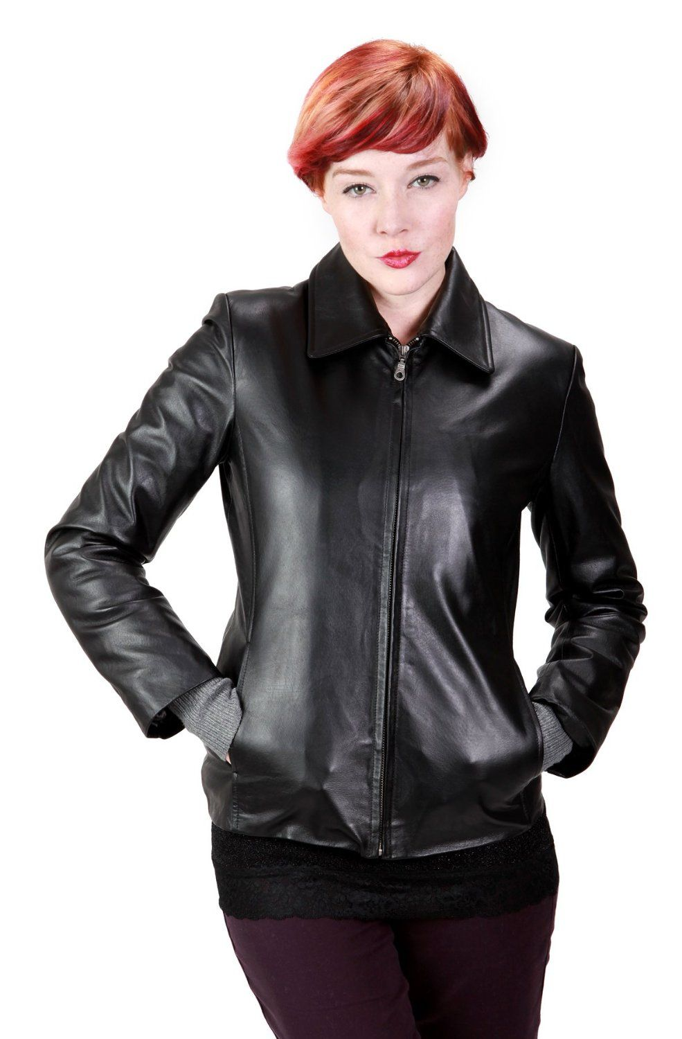 United Face Womens Leather Scuba Jacket Womens black