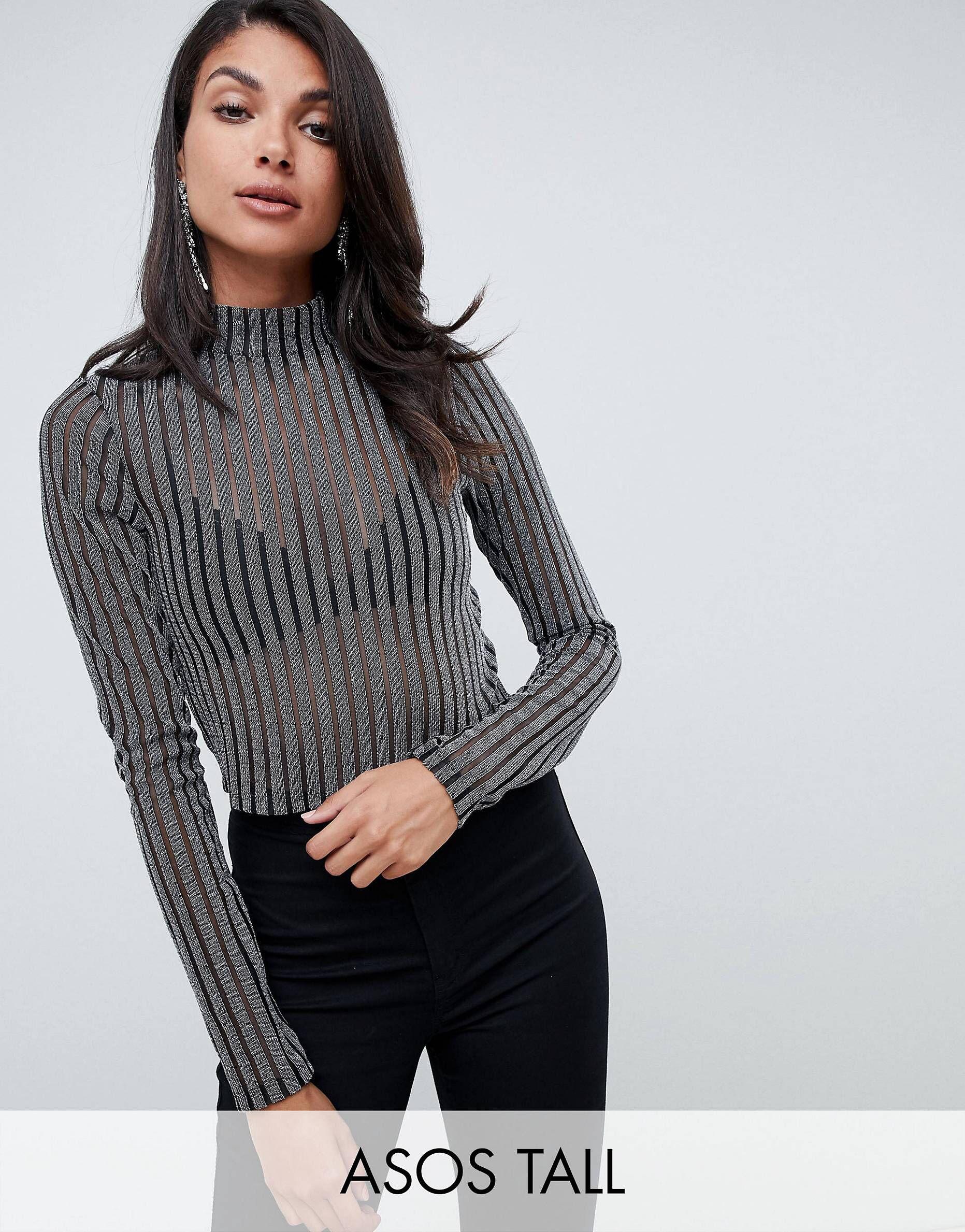606fd83703d7 DESIGN Tall silver glitter stripe high neck mesh top | Fall Fashion ...