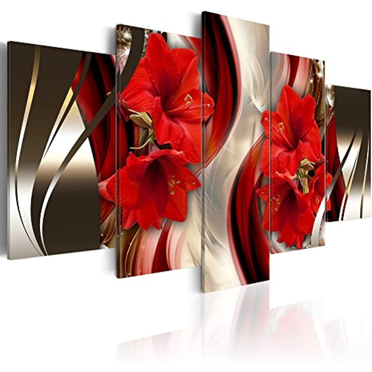Oversized Framed Canvas Wall Art Red Flower Print Painting