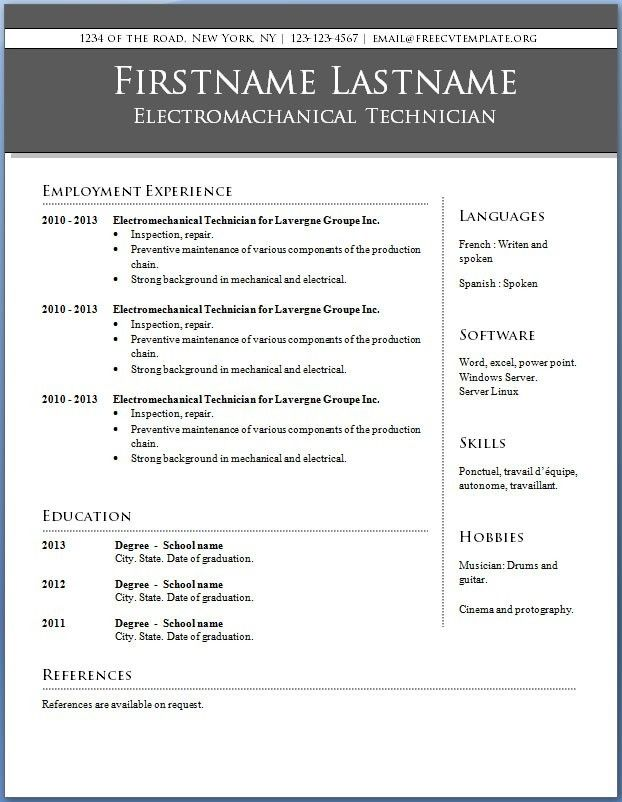 Resume Word Template Free Resume Template Download Mac Curriculum