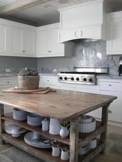 Like A Treasured Vintage Find Or A Custom Designed Piece, This Elegant Kitchen  Island Serves As A Rustic Yet Refined Workstation For The Home Cook U2026