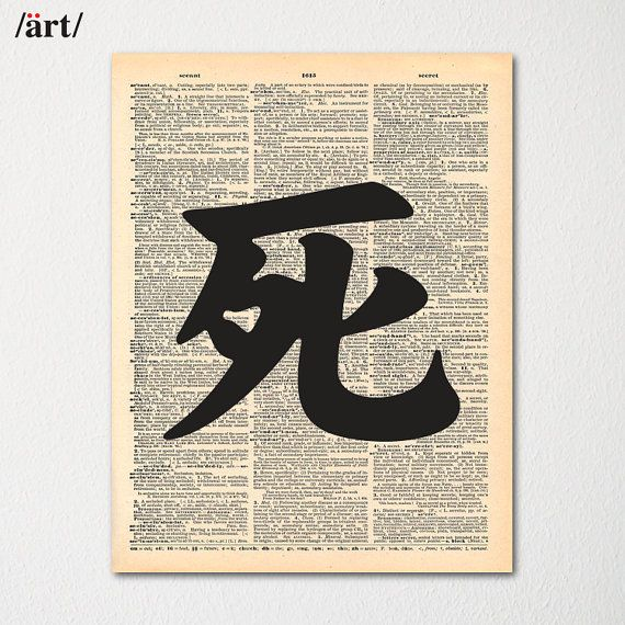 Kanji Death Symbol Japanese Writing On Dictionary Page